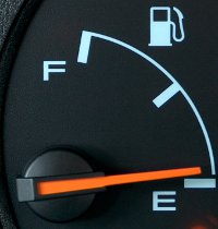 Fuel gauge nearing empty