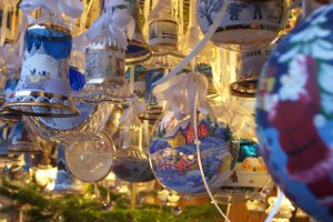 Christmas decorations for sale at a Christmas market