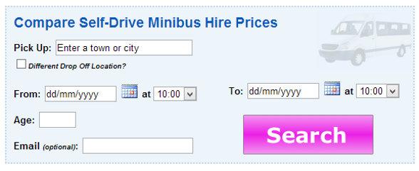 Minibus hire search box on vanrental.co.uk
