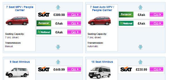 Minibus hire price comparison results on vanrental.co.uk