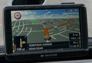 Sat nav screen while driving