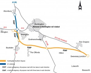 A14 Huntingdon - Cambridge proposed route