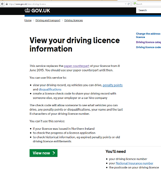 View your driving licence info