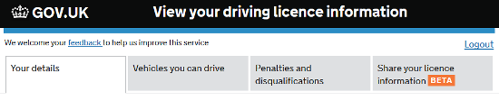 View your full driving licence info