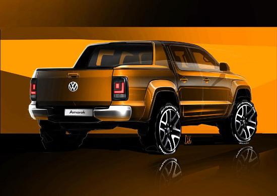 Volkswagen Amarok 2016 facelift rear view sketch