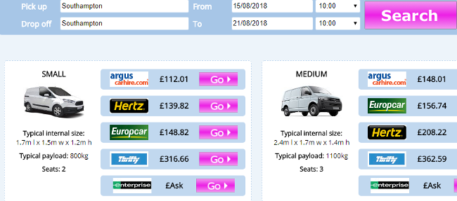 vanrental.co.uk price comparison example