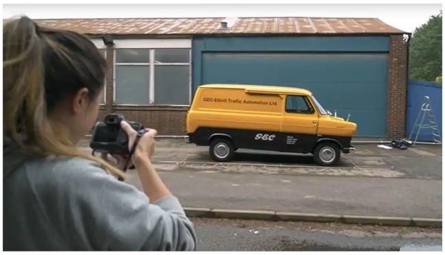 The 1965 Ford Transit being photographed for Forza Horizon 4